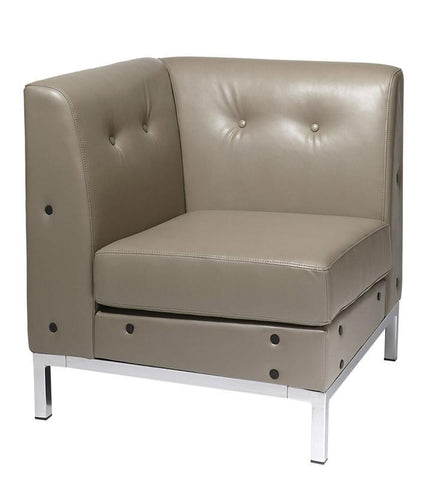 Office Star Ave Six WST51C-U22 Wall Street Corner Chair in Smoke Faux Leather - Peazz Furniture