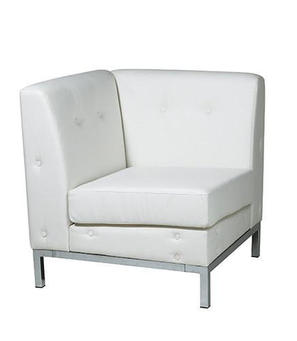 Office Star Ave Six WST51C-W32 Wall Street Corner Chair in White Faux Leather - Peazz Furniture