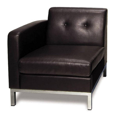Office Star Ave Six WST51LF-E34 Wall Street Arm Chair LAF in Espresso Faux Leather - Peazz Furniture