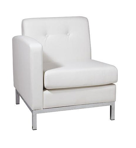 Office Star Ave Six WST51LF-W32 Wall Street Arm Chair LAF in White Faux Leather - Peazz Furniture
