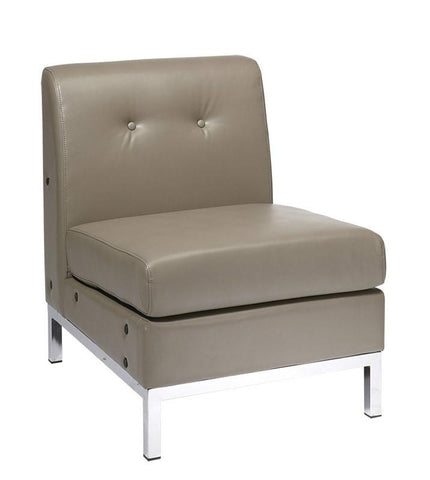 Office Star Ave Six WST51N-U22 Wall Street Armless Chair in Smoke Faux Leather - Peazz Furniture