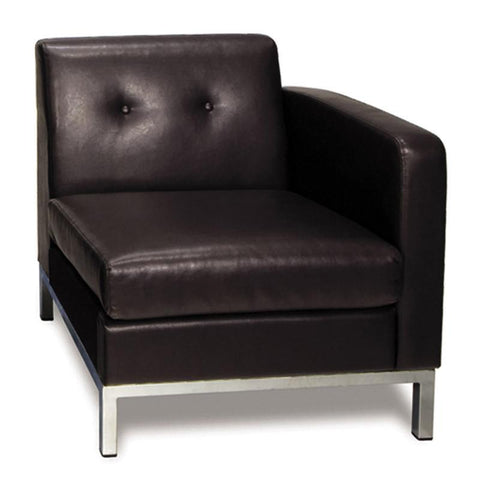 Office Star Ave Six WST51RF-E34 Wall Street Arm Chair RAF in Espresso Faux Leather - Peazz Furniture