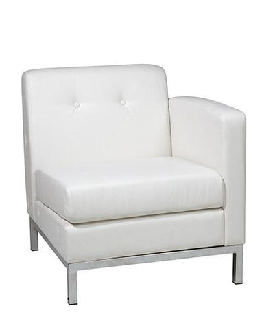 Office Star Ave Six WST51RF-W32 Wall Street Arm Chair RAF in White Faux Leather - Peazz Furniture