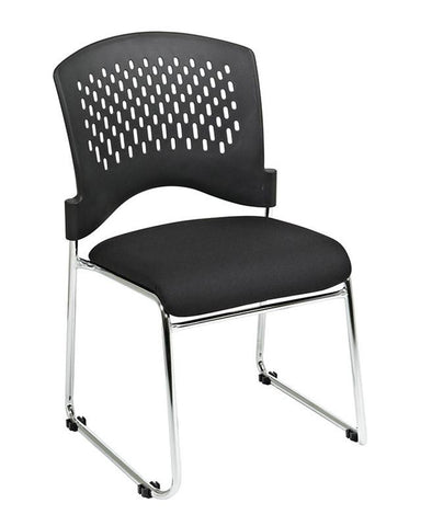 Office Star Pro-Line II 8455C4-30 Visitors Chair with Plastic Back. Black FreeFlex® (-30). Fabric Seat and Sled Base. Chrome Finish. 4 Pack - Peazz Furniture