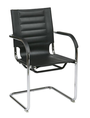Office Star Ave Six TND945A-BK Trinidad Guest Chair in Black Vinyl - Peazz Furniture