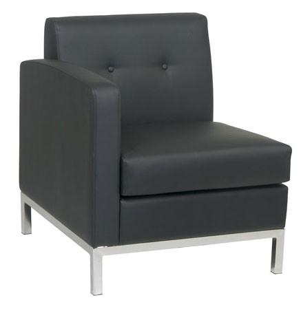 Office Star Ave Six WST51LF-B18 Wall Street Arm Chair LAF in Black Faux Leather - Peazz Furniture