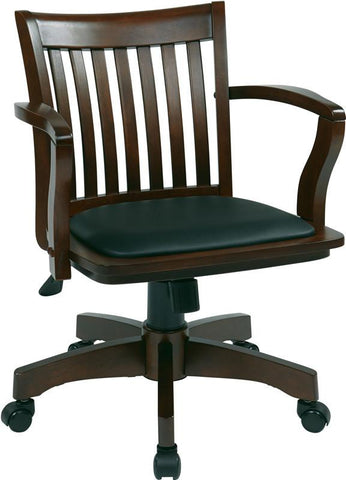 Office Star OSP Designs 108ES-3 Deluxe Wood Banker's Chair with Vinyl Padded Seat in Espresso Finish - Peazz Furniture