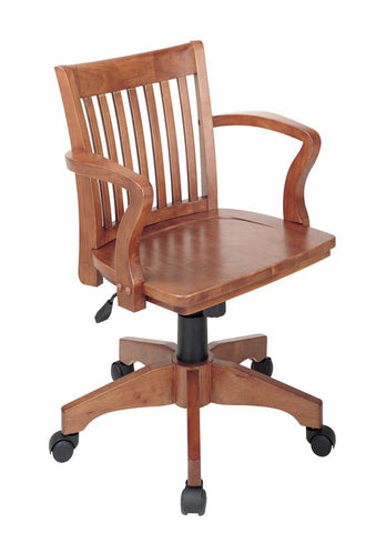 Office Star OSP Designs 105FW Deluxe Wood Banker's Chair with Wood Seat in Fruit Wood Finish - Peazz Furniture