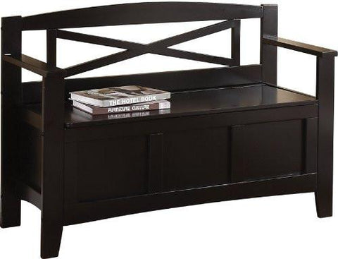 Office Star OSP Designs MET42-BK Metro Entry Way Bench - Peazz Furniture