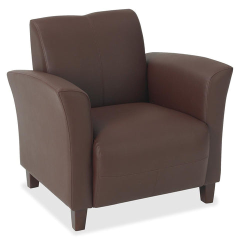 Office Star OSP Furniture SL2271EC6 Wine  Eco Leather  Breeze Club Chair with Cherry Finish Legs. Rated for 300 lbs of distributed weight.. Shipped Semi K/D. - Peazz Furniture