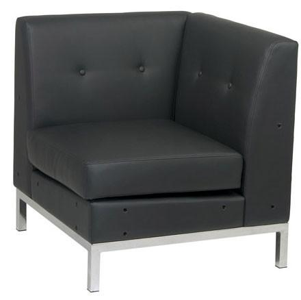 Office Star Ave Six WST51C-B18 Wall Street Corner Chair in Black Faux Leather - Peazz Furniture