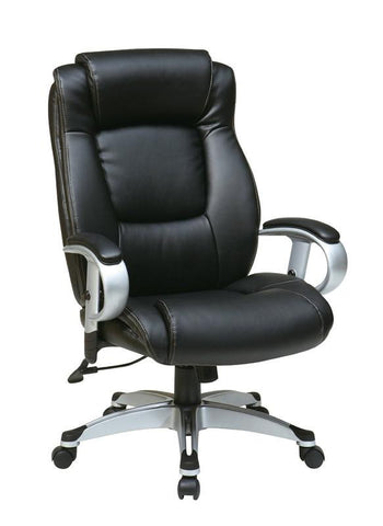 Office Star Work Smart ECH52666-EC3 Executive Eco Leather Chair in Silver/Black - Peazz Furniture