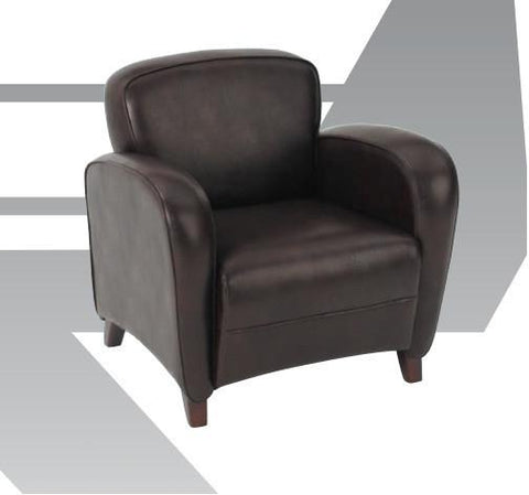 Office Star OSP Furniture SL2371EC9 Mocha Eco Leather Club Chair with Cherry Finish Legs. Rated for 300 lbs of distributed weight. Shipped Semi K/D. - Peazz Furniture