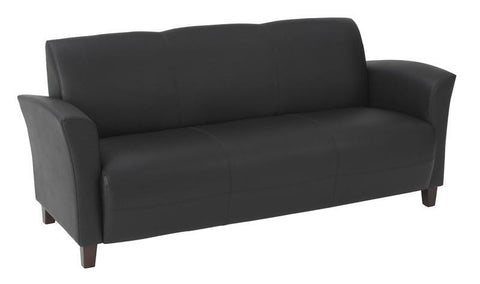 Office Star OSP Furniture SL2273EC3 Black Eco Leather Sofa with Cherry Finish Legs. Rated for 675 lbs of distributed weight. Shipped Semi K/D. - Peazz Furniture