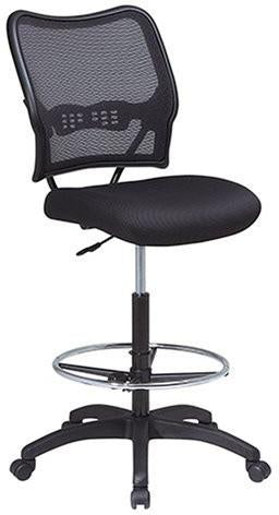 Office Star Space Seating 13-37N20D Deluxe AirGrid® Back Drafting Chair with Black Mesh Seat and Adjustable Footring and Nylon Base - Peazz Furniture