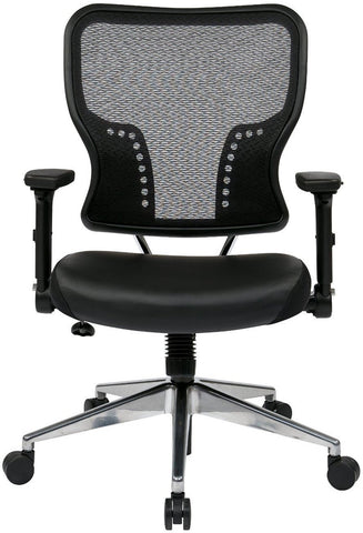 Space Seating 213-E37P91F3 Air Grid¨ Back and Eco Leather Seat Chair with 4-Way Adjustable Flip Arms - Peazz Furniture