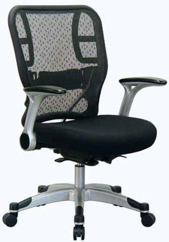 Office Star Space Seating 215-3R2C62R5 Deluxe R2 SpaceGrid® Back Chair With Mesh Seat, Self Adjusting Control, Flip Arms And Platinum Coated Accents And Base - Peazz Furniture