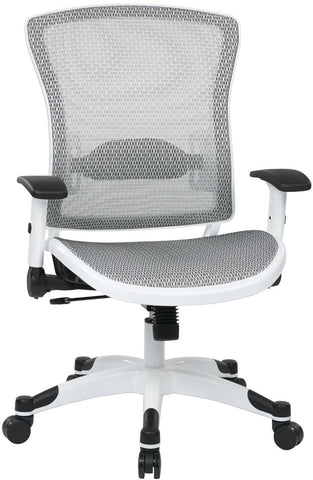 Space Seating 317W-W11C1F2W White Frame Managers Chair with Padded Mesh Seat and Back, Height Adjustable Flip Arms and Coated Nylon Base (White) - Peazz Furniture