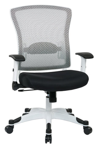 Space Seating 317W-W1C1F2W-5811 SPACE Seating White Frame Managers Chair with Breathable Mesh Back, Padded Mesh Seat, Adjustable Flip Arms, Adjustable Lumbar Support and Coated Nylon Base. ( Dove Steel Fabric) - Peazz Furniture