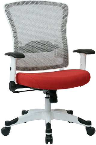 Space Seating 317W-W1C1F2W-5812 SPACE Seating White Frame Managers Chair with Breathable Mesh Back, Padded Mesh Seat, Adjustable Flip Arms, Adjustable Lumbar Support and Coated Nylon Base. (Dove Rouge Fabric) - Peazz Furniture