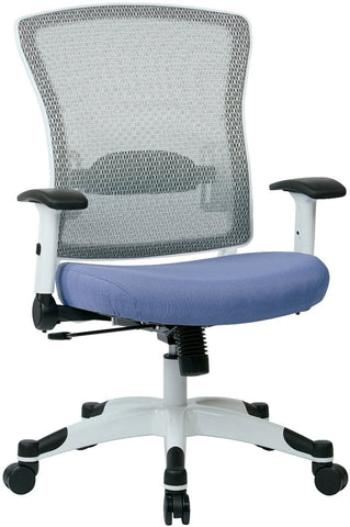 Space Seating 317W-W1C1F2W-5819 SPACE Seating White Frame Managers Chair with Breathable Mesh Back, Padded Mesh Seat, Adjustable Flip Arms, Adjustable Lumbar Support and Coated Nylon Base. (Dove Violet Fabric) - Peazz Furniture