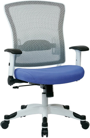 Space Seating 317W-W1C1F2W-5877 SPACE Seating White Frame Managers Chair with Breathable Mesh Back, Padded Mesh Seat, Adjustable Flip Arms, Adjustable Lumbar Support and Coated Nylon Base. (Dove Sky Fabric) - Peazz Furniture