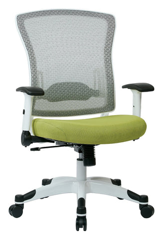 Space Seating 317W-W1C1F2W-5879 SPACE Seating White Frame Managers Chair with Breathable Mesh Back, Padded Mesh Seat, Adjustable Flip Arms, Adjustable Lumbar Support and Coated Nylon Base. (Dove Olive Fabric) - Peazz Furniture