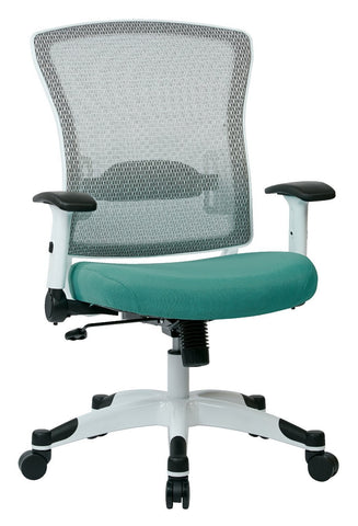 Space Seating 317W-W1C1F2W-5881 SPACE Seating White Frame Managers Chair with Breathable Mesh Back, Padded Mesh Seat, Adjustable Flip Arms, Adjustable Lumbar Support and Coated Nylon Base. (Dove Jade Fabric) - Peazz Furniture