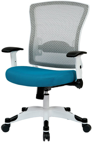 Space Seating 317W-W1C1F2W-7 White Frame Managers Chair (Blue) - Peazz Furniture