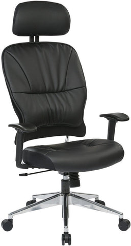 Space Seating 32-E33P918PHL Black Eco, Leather Managers Chair. - Peazz Furniture