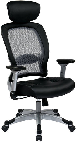 Space Seating 327 E36C61F6 Professional Light Air Grid¨ Back And Eco  Leather Seat Chair