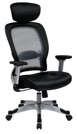 Space Seating 327-E36C61F6HL Professional Light Air Grid¨ Back and Eco Leather Seat Chair with Headrest - Peazz Furniture