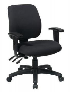 Office Star Work Smart 33327-30 Mid Back Dual Function Ergonomic Chair with Ratchet Back Height Adjustment with Arms - Peazz Furniture