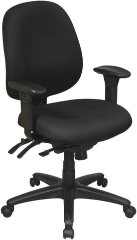Work Smart 43891-231 Mid Back Multi Function Ergonomics Chair with Ratchet Back, Seat Slider and 2-way Adjustable Arms - Peazz.com