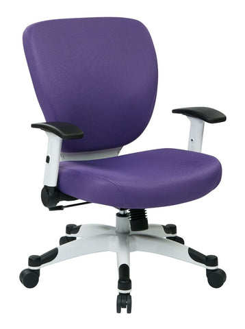 Space Seating 5200W-512 Managers Chair with Padded Mesh Seat and Back, Height Adjustable Flip Arms and Coated Nylon Base (Purple) - Peazz Furniture