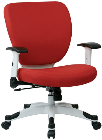 Space Seating 5200W-5812 Managers Chair with Padded Mesh Seat and Back, Height Adjustable Flip Arms and Coated Nylon Base (Dove Rouge) - Peazz Furniture