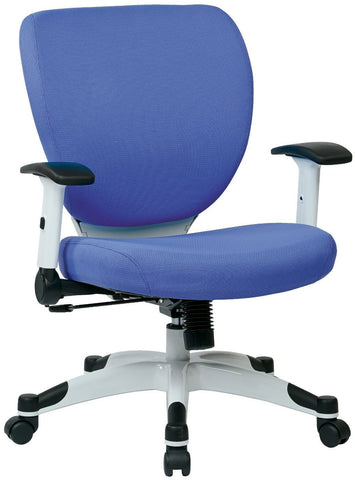 Space Seating 5200W-5877 Managers Chair with Padded Mesh Seat and Back, Height Adjustable Flip Arms and Coated Nylon Base (Dove Sky Fabric) - Peazz Furniture
