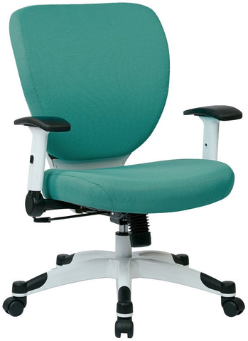 Space Seating 5200W-5881 Managers Chair with Padded Mesh Seat and Back, Height Adjustable Flip Arms and Coated Nylon Base (Dove Jade Fabric) - Peazz Furniture