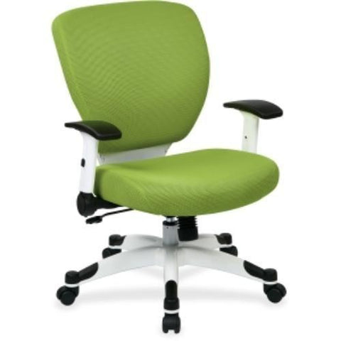 Space Seating 5200W-6 Managers Chair with Padded Mesh Seat and Back, Height Adjustable Flip Arms and Coated Nylon Base ( Green ) - Peazz Furniture