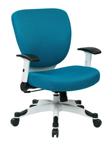 Space Seating 5200W-7 Managers Chair with Padded Mesh Seat and Back, Height Adjustable Flip Arms and Coated Nylon Base (Blue ) - Peazz Furniture