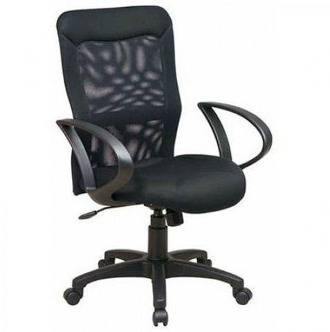 Office Star Work Smart 53603 Mesh Screen Back and Mesh Seat Chair with Loop Arms - Peazz Furniture