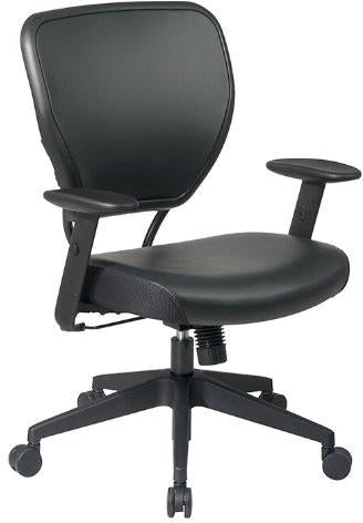 Office Star Space Seating 5500V Black Vinyl over AirGrid® Back and Black Vinyl Seat - Peazz Furniture