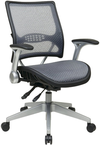 Office Star Space Seating 67-66N69R5 Professional AirGrid® Back and Seat Managers Chair with Flip Arms and Angled Platinum Coated Base - Peazz Furniture