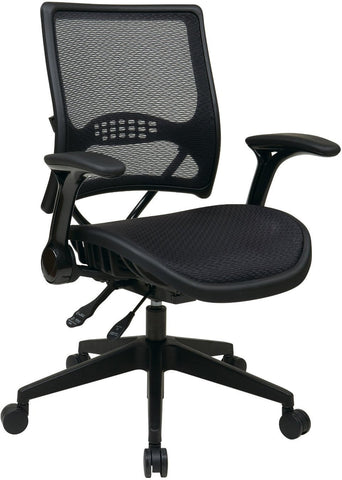 Office Star Space Seating 67-77N9G5 Professional AirGrid® Back and Seat Managers Chair with Flip Arms and Angled Nylon Base - Peazz Furniture