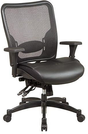 Office Star Space Seating 68-50764 Professional Breathable Mesh Black Back and Layered Leather Seat Ergonomic Chair with Adjustable Lumbar Support - Peazz Furniture