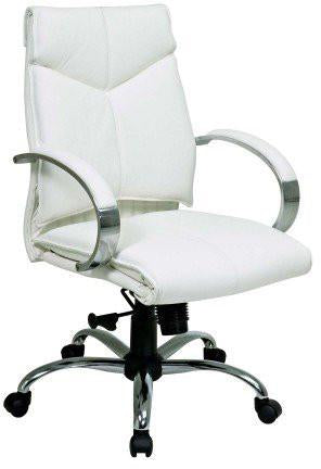 Office Star Pro-Line II 7271 Deluxe Mid Back Executive White Leather Chair with Chrome Finish Base and Padded Polished Aluminum Arms - Peazz Furniture