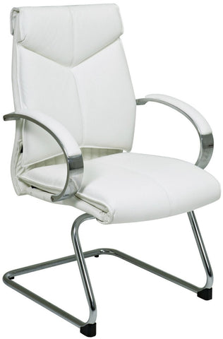 Office Star Pro-Line II 7275 Deluxe Mid Back White Leather Visitors  Chair with Chrome  Base and Padded Polished Aluminum Arms - Peazz Furniture