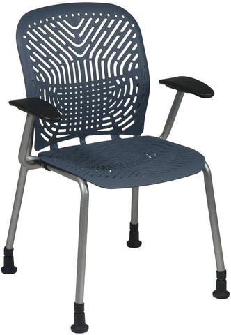 Office Star Space Seating 801-776AG Deluxe SpaceFlex® Blue Mist Seat and Back Visitors Chair with Platinum Frame, Arms and Glides (2-Pack) - Peazz Furniture