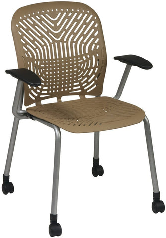 Space Seating 801-886AC Deluxe SpaceFlex¨ Latte Seat and Back Visitors Chair with Platinum Frame, Arms and Casters (2-Pack) - Peazz Furniture