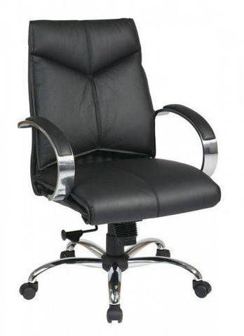 Office Star Pro-Line II 8201 Deluxe Mid Back Black Executive Leather Chair with Chrome Finish Base and Padded Polished Aluminum Arms - Peazz Furniture